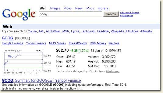 Google Search - ticker symbol goog
