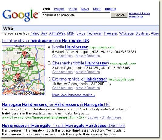 Google Local Search - hairdresser harrogate