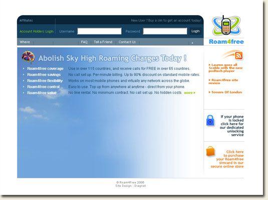 Roam4Free homepage