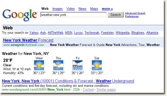 Google Search - weather new york