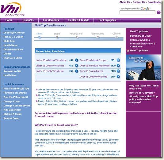 Multitrip Insurance page on VHI.ie